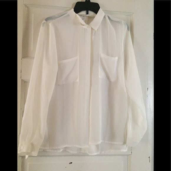 Ambiance Tops Sheer White Button Up Blouse Poshmark